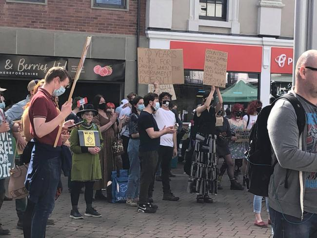 Peaceful protest in Hereford