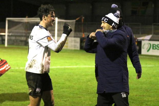 Hereford Times: Tom Owen-Evans scored a brace at Stamford. Picture: Steve Niblett