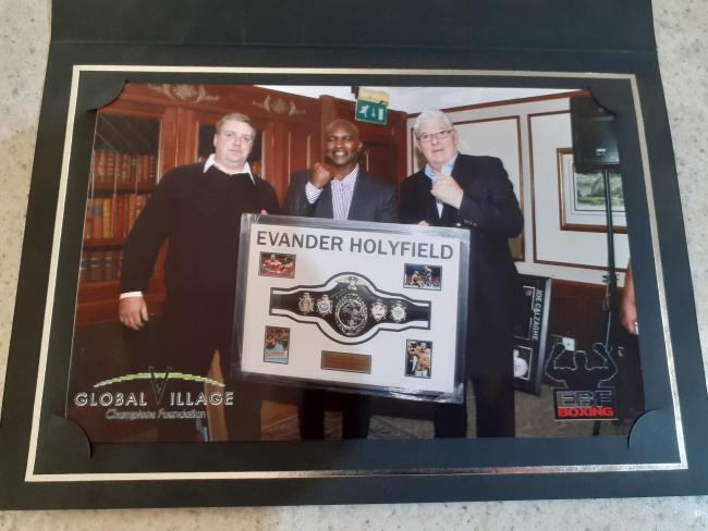 Burglars stole a treasure-trove of signed sporting memorabilia including a  boxing belt which belonged to former heavyweight champion Evander Holyfield. Picture: Jon Mills/SWNS