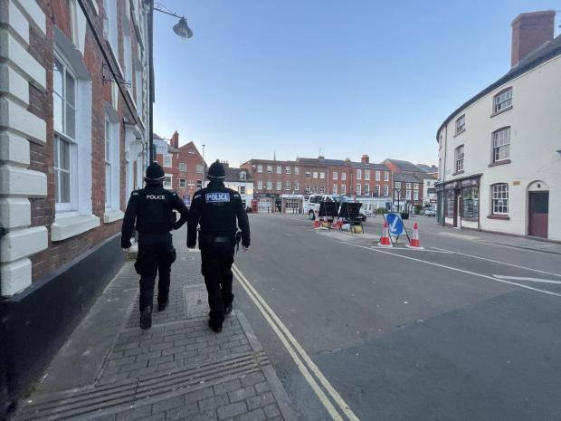Hereford Times: PCs Tom Milton and Chris Lowe on patrol in Bridge Street, Hereford, on Saturday
