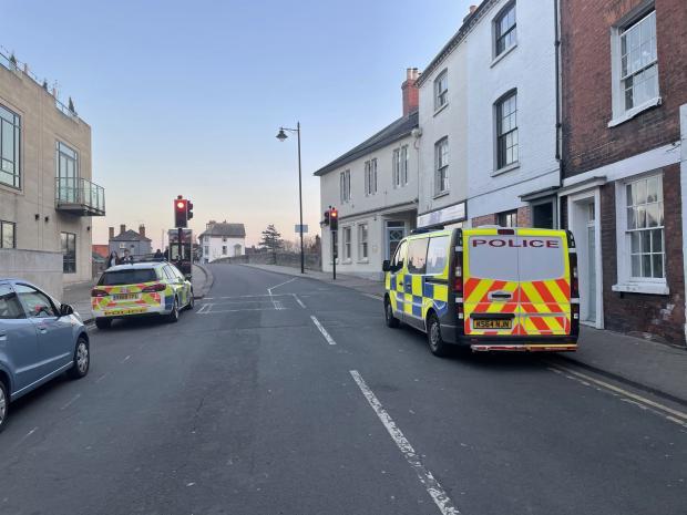 Hereford Times: Police vehicles parked in Bridge Street, near Old Wye Bridge
