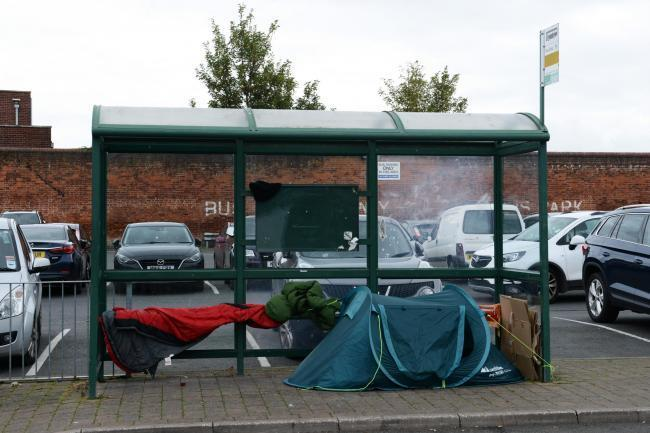 A tent at Hereford Country Bus Station.