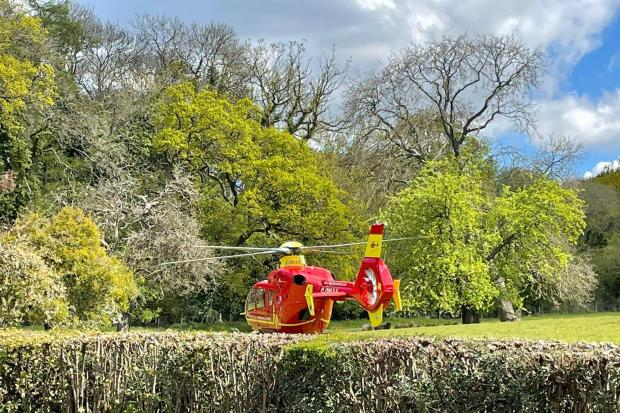 The air ambulance in Ledbury. Photo: James Thomas