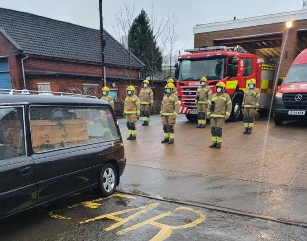 Hereford Times: Bran Jenkins was remembered with a guard of honour at Ledbury fire station
