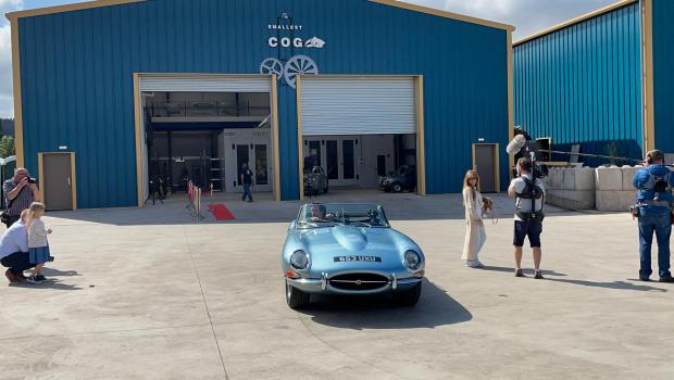 Hereford Times: Richard Hammond arrived at his new business 'The Smallest Cog' in Hereford in a classic Jaguar