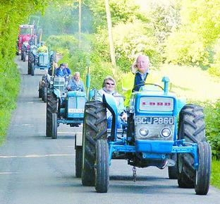 Hereford Times: Some of the vintage tractors taking part in last year's event.