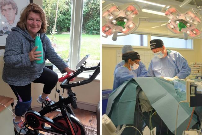 Allyson Taylor is taking on a 300-mile cycling challenge to raise money for cancer research. Right: cancer surgery