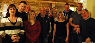 Some of the regulars of the Rose & Crown in Bromyard who skydived for two Marches charities