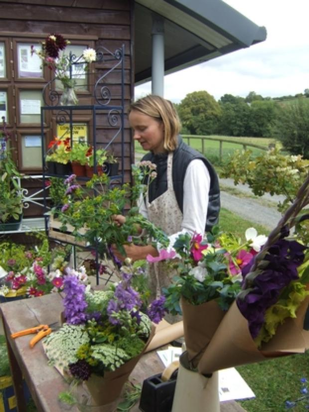 Amber Sullivan demonstrates her skills with her Herefordshire grown flowers.