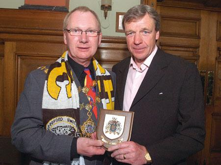 The Mayor of Hereford, Councillor Chris Chappell presented Graham Turner with the City Coat of Arms.