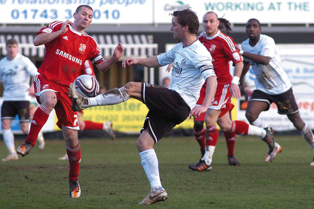 Hereford United goalscorer Rob Purdie in action during the 2-1 defeat to Swindon.