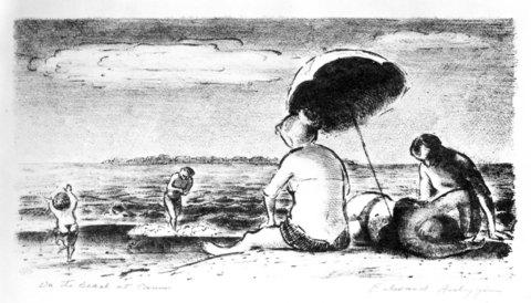On the Beach at Cannes, an original lithography by Edward Ardizzone, 1955