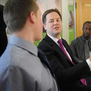 Deputy Prime Minister Nick Clegg meets jobseekers at a Job Centre Plus in Poplar, east London