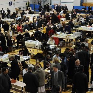 Counting of votes gets underway at the Richard Dunn Sports Centre, Bradford for the local council elections