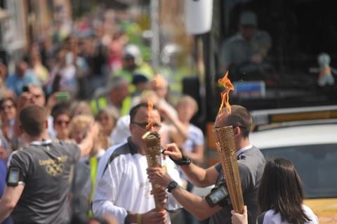 The Olympic torch in Ross-on-Wye. Picture by Michael Eden.