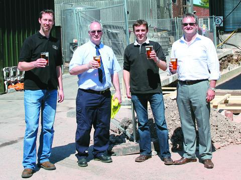 Wye Valley Brewery is making a £2m investment in expanding the brewery. From left are: Jimmy Swan, head brewer of Wye Valley Brewery; Steve Midgeley of Microdat; Vernon Amor, managing director of Wye Valley Brewery; and Richard Cryer of Watergate.