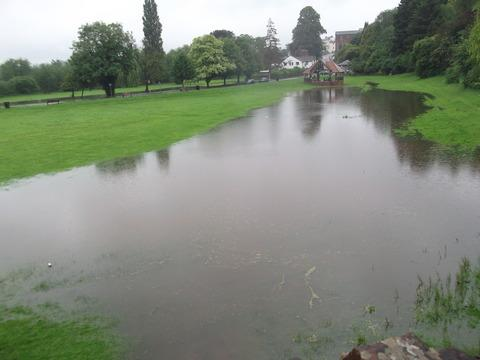 A riverside common in Ross-on-Wye got flooded