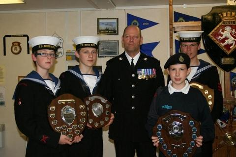 Proud award winners at Ross-on-Wye Sea Scouts'