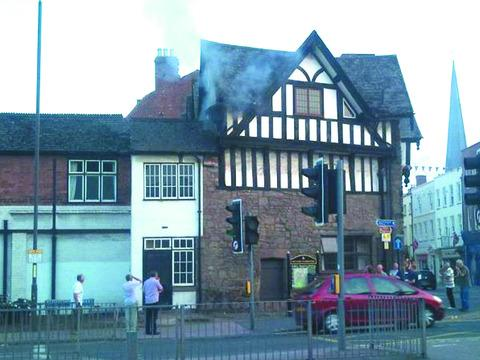 The Farmers Club in Hereford pictured during the latest fire. Pic by John Perrin.