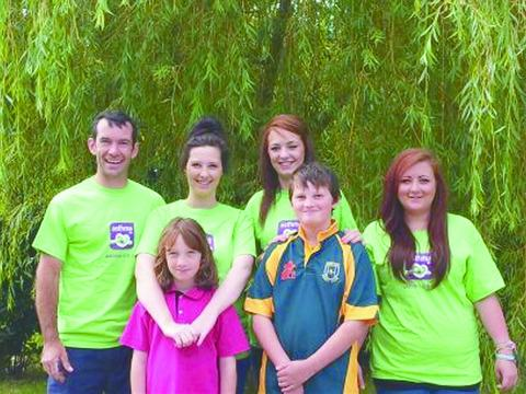 Left to right: Dan Stretton, Gemma Gough, Charlotte Gough and Katie Cole, with Elizabeth and Frazer Gough