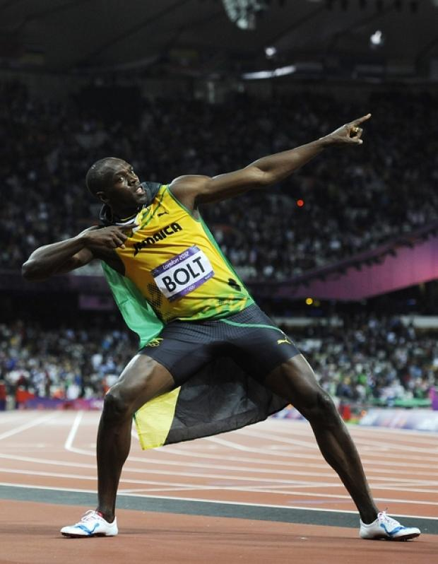 Olympic 100m champion Usain Bolt striking his famous pose