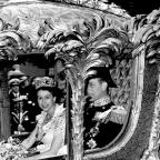 The Queen and Prince Philip in the State Coach at the Coronation in 1953