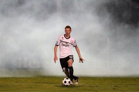 Sam Clucas battles his way through the Edgar Street smoke. Pic courtesy Steve Niblett