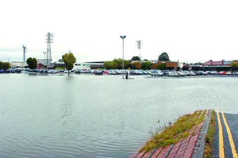Most of the Merton Meadow car park was under water following Monday morning's heavy rain