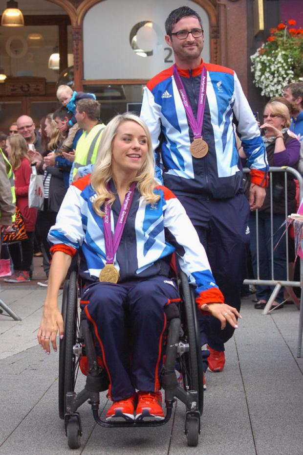 Josie Pearson and fellow Paralympian James Bevis in Hereford