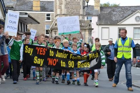 Hay Junior Football Club held a protest in Hay-on-Wye. Picture by Steve Chapman