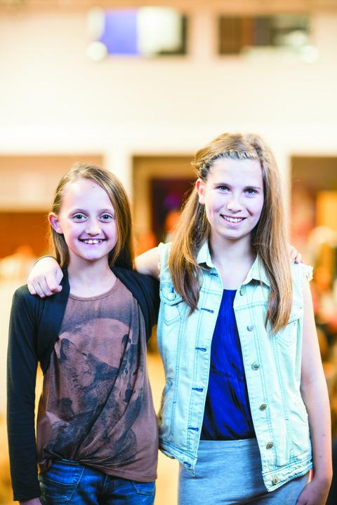 HMTC's budding young stars Anja Scot and Hattie Pandeli, who will share the role of Annie