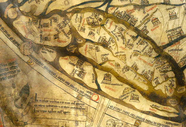 Hereford Times: Mappa Mundi - detail showing British Isles on their side, with Scotland on the left and South of England on the right. Many cities and landmarks can be identified, while Hereford features as a small town.