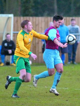 Westfields midfielder Sam Gwynne brings the ball under control in his side's 2-0 loss to Gornal Athletic.