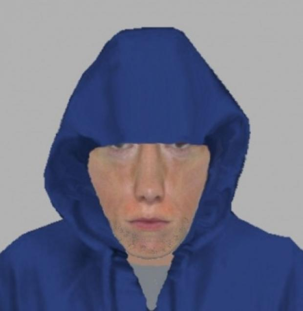 The E-Fit picture of a man police wish to speak to in connection with a burglary in Weobley.