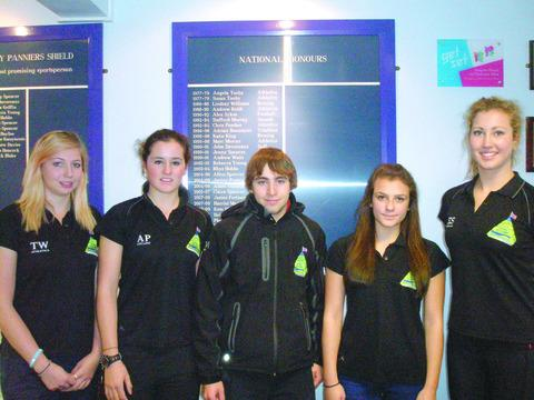 Here-ford Sixth Form College's elite        athletes (from left) Tasha Webster, Annasley Park, Chris Makin, Jennifer Smith and Ellie Smith.