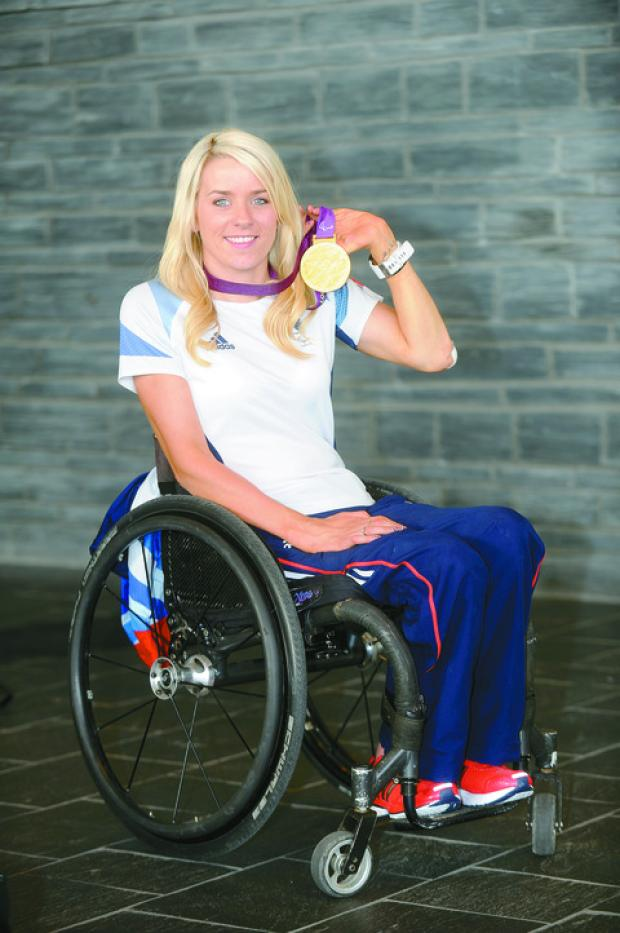 Josie Pearson shows off her gold medal from London 2012.