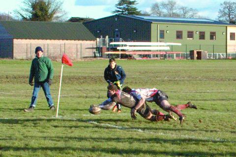 James Watters dives over for the only try of the game in Hereford's narrow win over Berkswell and Balsall.