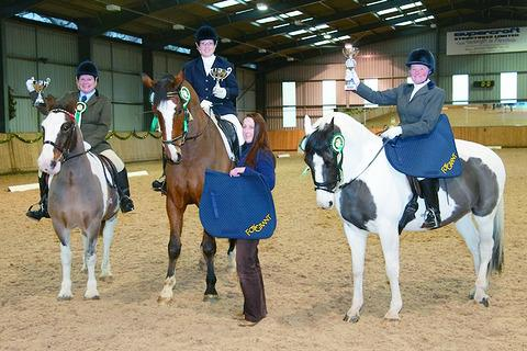 The Dressage League winners (from left) Jane Meredith and Duke, Caroline King and Sheepcote Amazing, Elizabeth Langford and Carol Clare and Painted Sun.
