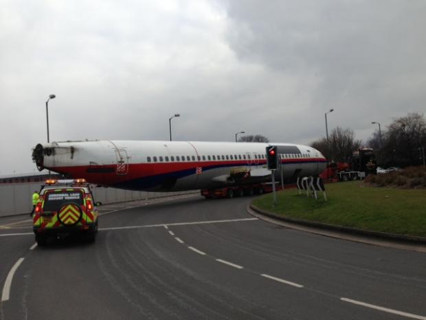 The 737 fuselage makes its way through Hereford