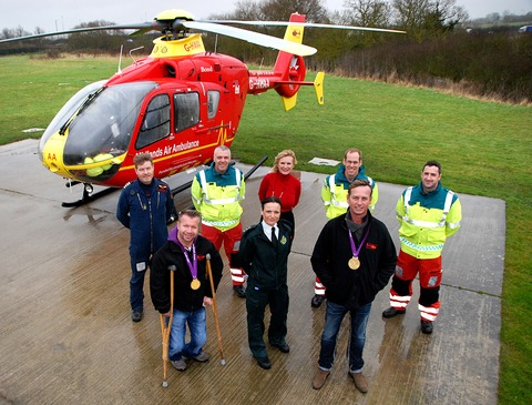 Back, from left, pilot Tim Hutchins, paramedic Ian Roberts, chief executive Hanna Sebright and paramedics Andrew Hayles and Julian Spiers. Front: Lee Pearson, paramedic and air operations manager Becky Tinsley and Carl Hester. 0513232103