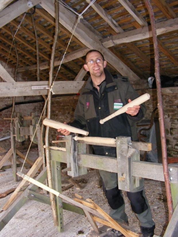 Nick Hinchliffe, ranger of the Brockhampton Estate, near Bromyard, works on a pole lathe.