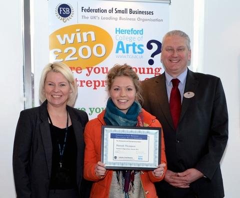 Award winner Hannah Thompson (centre) is seem with Wendy Tolley, business development manager at Hereford College of Arts, and Richard Asghar-Sandys, chairman of the Federation of Small Businesses in Herefordshire.
