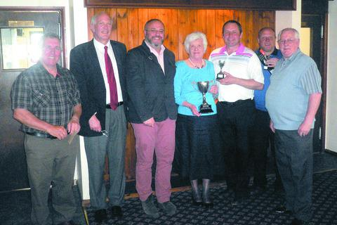 Eileen Cooper presents Carl Jones with the Ivor Cooper Memorial Trophy with (from left) Bill Harris, Hereford Times sports editor Richard Prime, Dr Chris Lukakis, runner-up Alan Watkins and organiser Tom Williams.