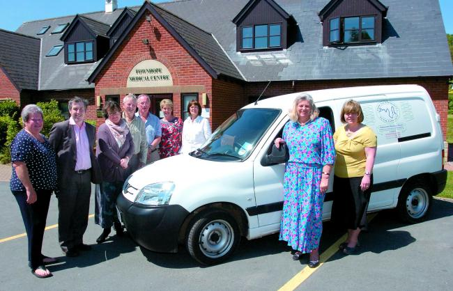 Fownhope&District medical trust fund trustee Avril Jones,Dr Mike Hearne,Dr Alison Wood,trustees Peter Daines and Graeme Forrester,practice manager Liz Moore,dispenser and driver Veronica Brooks,trust chairman Gina Children&Andrea McConkey,trustee.132308-1
