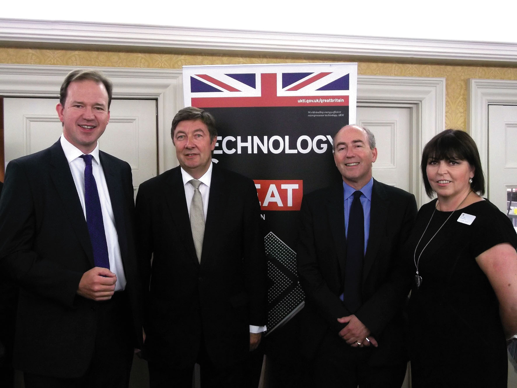 From left: Jesse Norman MP, Premier League chairman Anthony Fry, UKTI director of trade Crispin Simon and Linda Smith, head of UKTI for Herefordshire and Worcestershire.