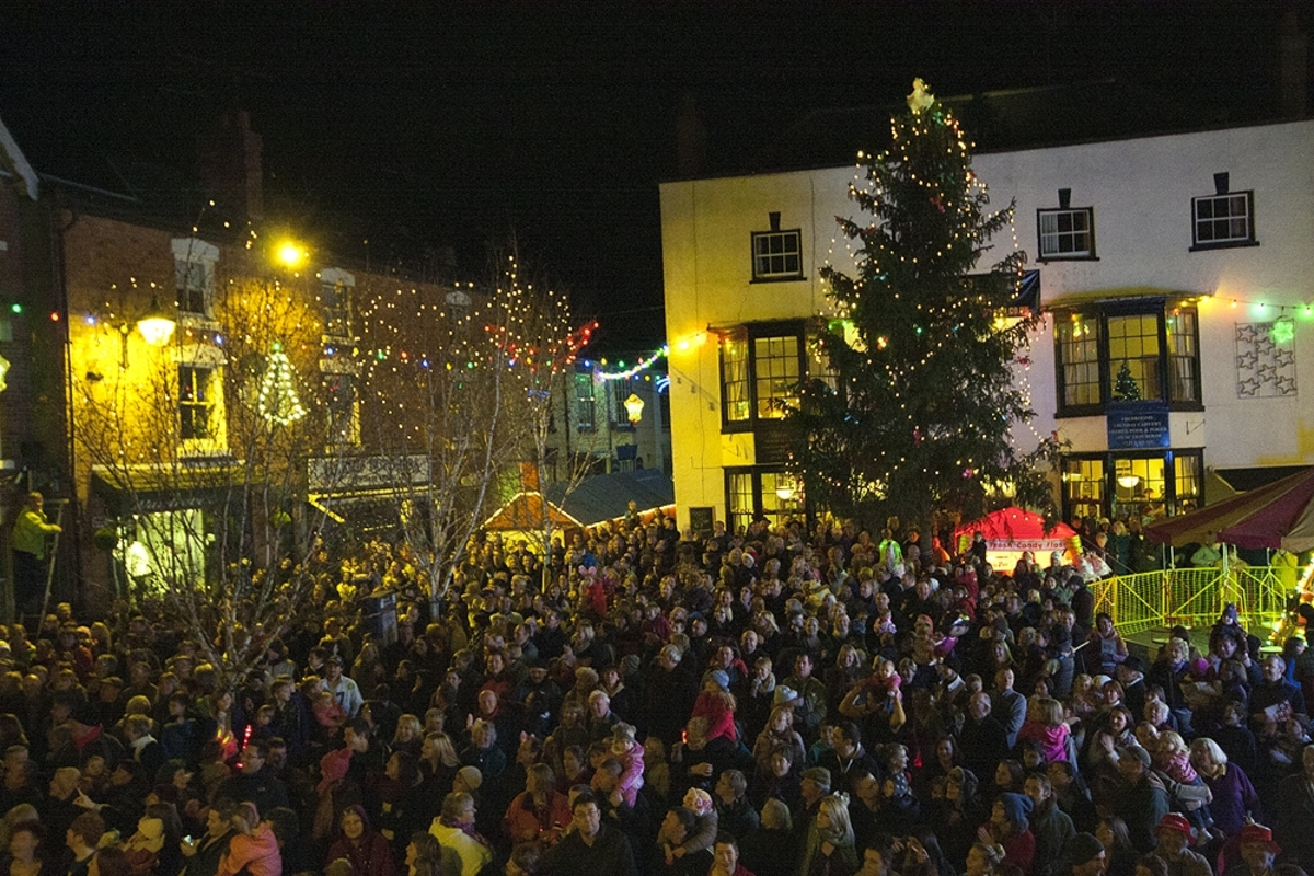 Last year's tree in all its glory in Bromyard's Market Square.