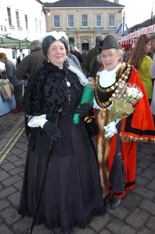 "Hereford Times: ""Queen Victoria"" with mayor of Leominster, Mollie Cooke, a"