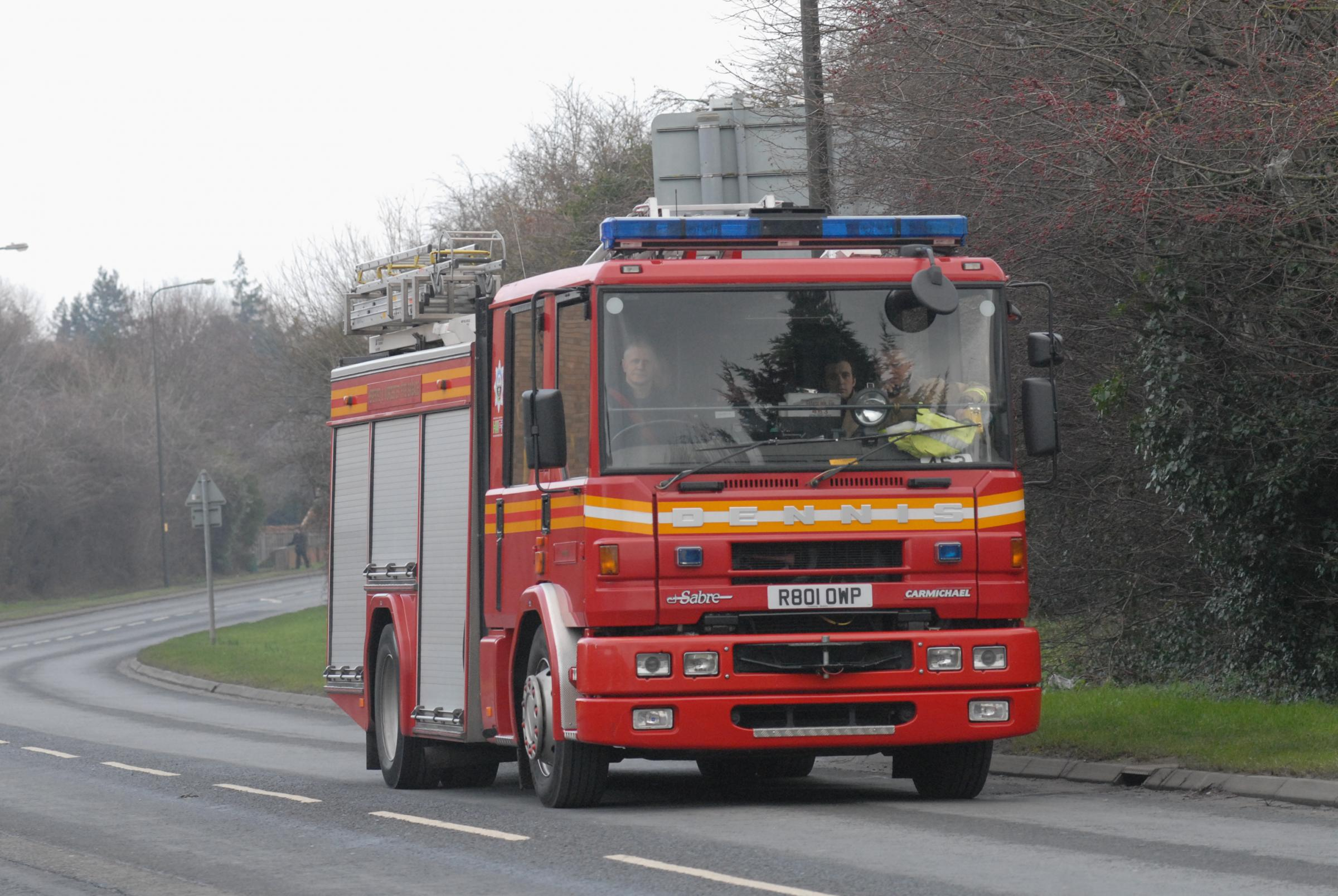 The county's fire crews dealt with two vehicles which were alight.