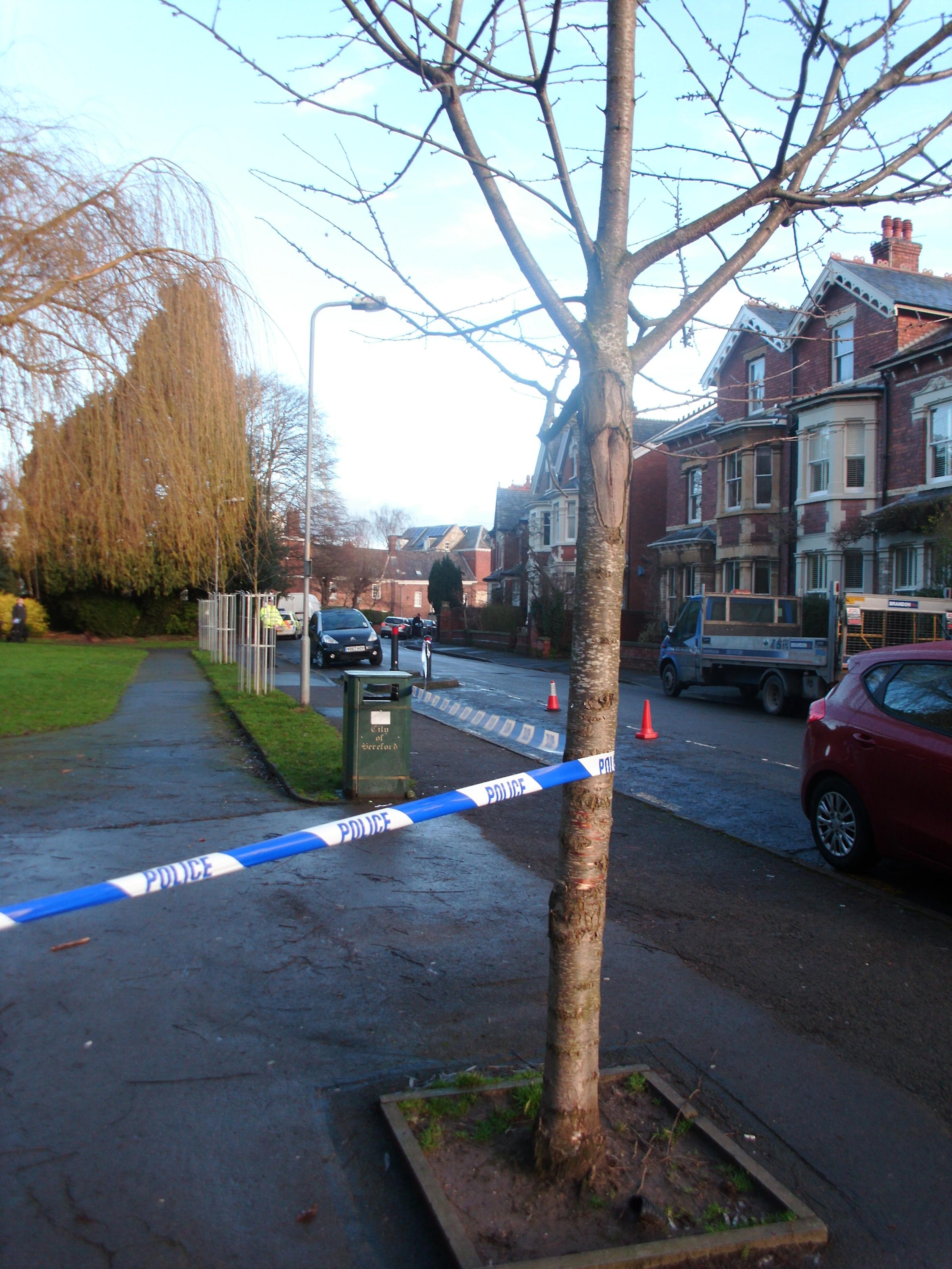 Police sealed off an area around Cantilupe Gardens in Hereford after a body was found.