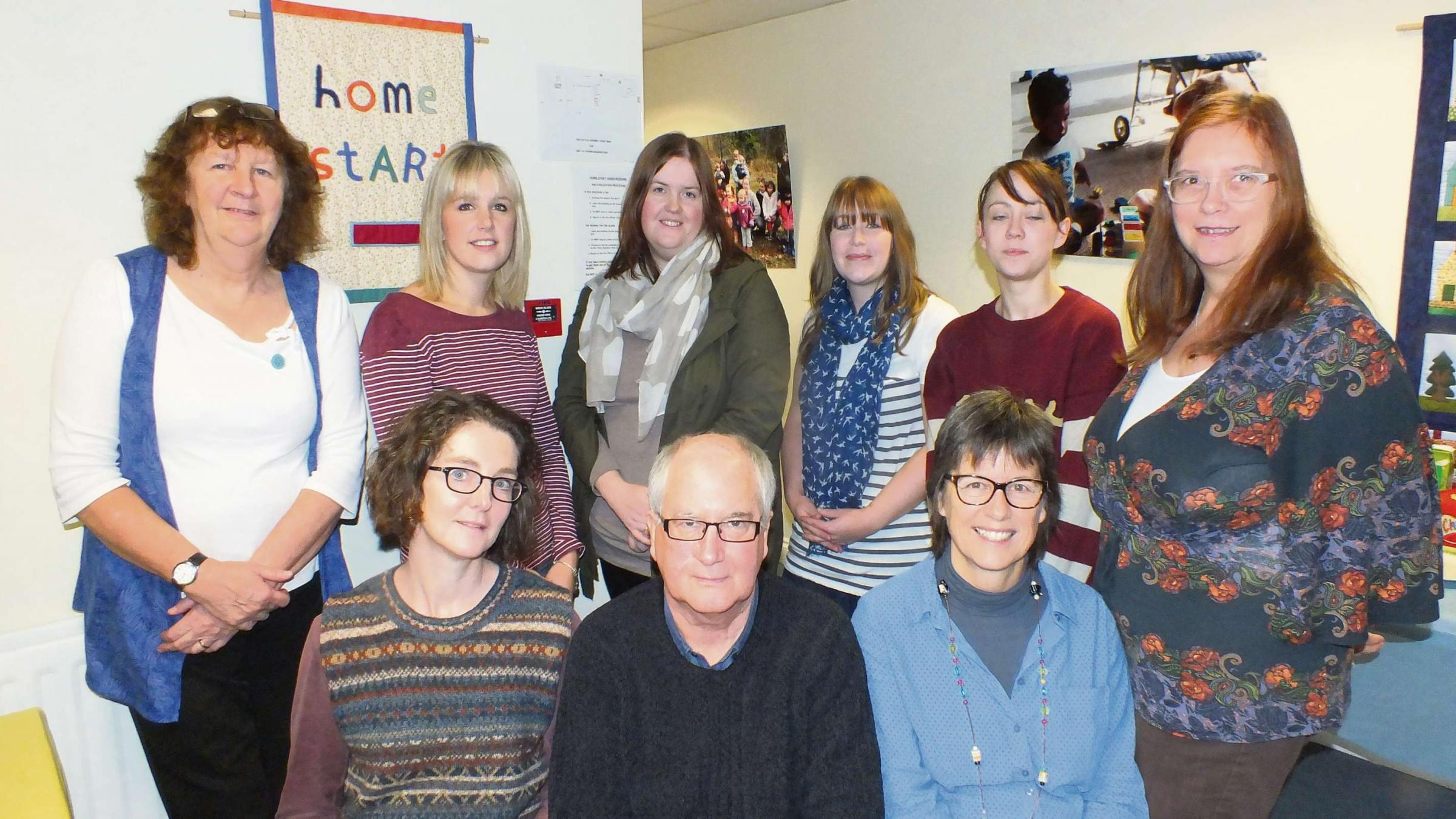 Back row, left to right: Home-Start organiser Barbara Stevens, Amy Britton, Beth Hanbury, Rachel Smith, Andrena Brown, Home-Start organiser Diane Gibson. Front row: Laura McCarthy, Peter Horne and Jan Doran.